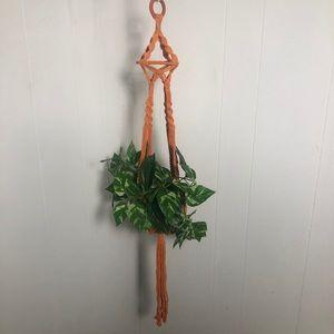 "Macrame Plant Hanger: Bright Orange 36"" long. NEW"